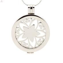 Aço inoxidável 316L moeda medalhão, moda elegante medalhão jóias