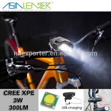 Asia Leader Lighting Products 4 Lightness Modes ABS CREE XPE 3W LED Bicycle Light