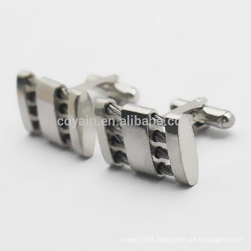 Supply Stainless Steel Hollow Wire Cable Cufflinks For Men