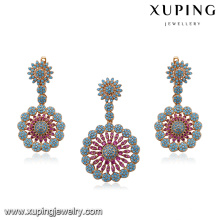 64259 xuping private label fashion jewelry 18k multicolor flower type gold plated jewelry sets