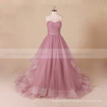 Wholesale cheap ruffle tulle long tail evening dress