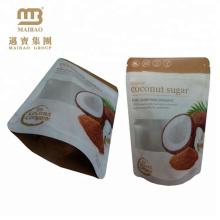 Kundengebundener Druck stehen oben wiederverschließbare Reißverschluss-Spitze laminierte Polybeutel Doypack für Kokosnuss-Zucker