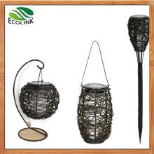 Solar LED Rattan Weaving Boutique Torch Lantern