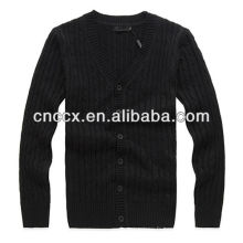 12STC0588 v cou hommes lourd tricot cardigan