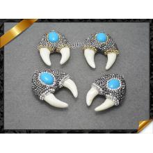 Diente de tiburón Colgante de piedra blanca, turquesa Cabochon pendiente de joyería de perlas (EF095)