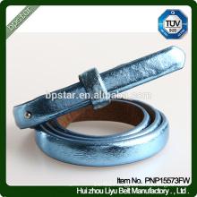 PU Blue Women Belt Thin Lady Female for Dress Strap Cintos Skinny Fashion Ceinture