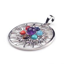 Whoelsale круглый чакра рейки кристалл йога балансировки очарование ювелирные изделия Кулон