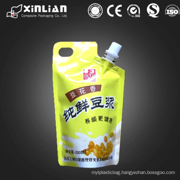 laminated plastic stand up juice packaging pouch with corner spout