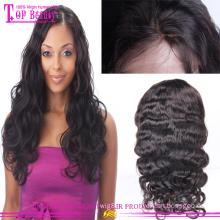 En gros top qualité péruvienne vierge cheveux humains pleine dentelle perruque 100% vague de corps sans colle soie top pleine perruque de dentelle
