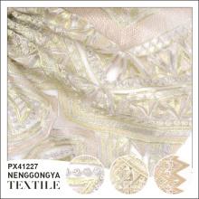Serviço de Oem barato tecido bordado de poliéster de luxo para o vestido