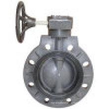 Пластиковый клапан-бабочка, клапан-бабочка PVC / PP, червячная передача