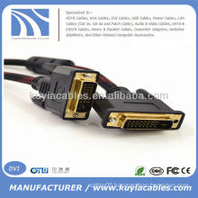 DVI 24+1 Cable 5M Nylon Net Male To Male For DVD LCD HDTV PC 1080P 16FT