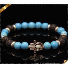 Handgemachte Hamsa Hand Armband Schmuck mit Türkis Perle (CB0108)