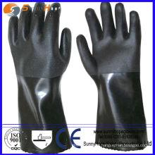 Anti químicos protección de las manos negro guante de caucho industrial