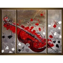 Modern Handmade Musical Instrument Oil Painting for Decor