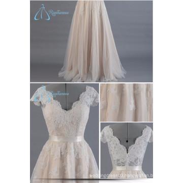 2017 Custom Made Lace V-Neck Wedding Dress Bridal Gown Latest