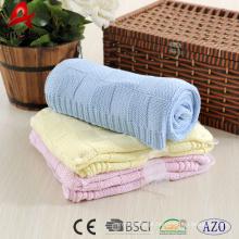 Cobertor de algodão macio de malha reversível 100% algodão