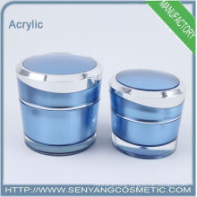 2015 new blue color packaging jars wholesale cosmetic acrylic packaging acrylic bottles