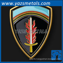 custom metal shield-shaped brass challenge coin with enamel finish