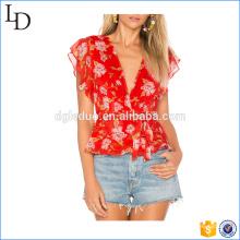 2017 Красный шифон пользовательские женщин футболка сублимационной печати цветка