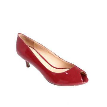 Zapatos de mujer de tacón rojo de punta de pez Zapatos de tacón alto Zapatos de tacón alto