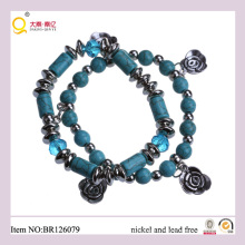 Latest Design Two Row Turquoise Pendant Bracelet, Mother′s Day Gift