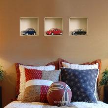 Conjunto de vinil removível de 3Black azul e vermelho carros 3D parede adesivo