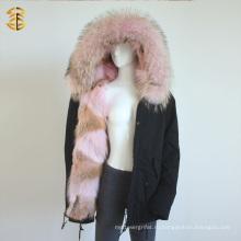 Розовый Подлинный Raccoon Женщины Зимний Parka Fox Fur Jacket