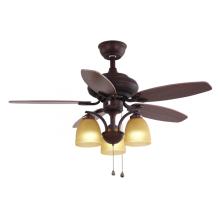 Ventilador de teto decorativo marrom com luz
