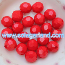 4-20MM Acrylic Round Opaque Faceted Beads