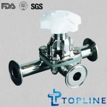 Válvula sanitária de diafragma de três vias de aço inoxidável