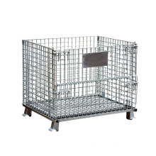 Hot Sale Foldable Heavy Duty Galvan Steel Cage, Storage Cage with Wheels/