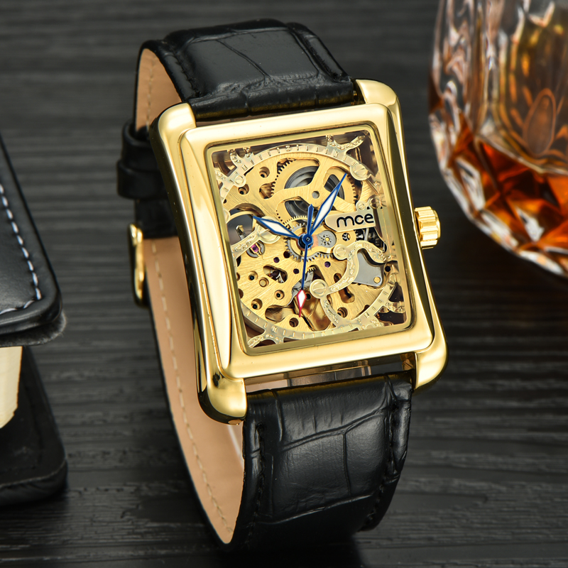 small bangle skeleton leather wrist watch