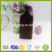 300ml de botellas de plástico ámbar farmacéutico de PET a medida con tapa de prueba
