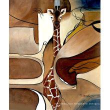 Moderno Decorative Giraffe Animal Mão feita a pintura