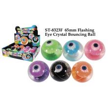 Boule de rebond de cristal d'oeil clignotant de 65 mm