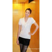 Jersey liso de cachemir y algodón con manga corta Tr-Mc-0509