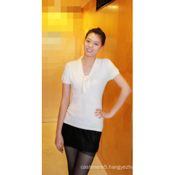 Cashmere & Cotton Plain Pullover with Short Sleeve Tr-Mc-0509