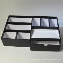 Organisateur de bureau multifonctions en papier noir avec tiroir