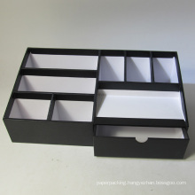 Multifunctional Black Paper Desktop Organizer with Drawer