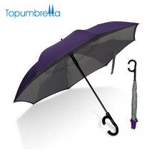 Calidad productos chinos nuevo diseño etiqueta privada doble capa C manija paraguas invertido