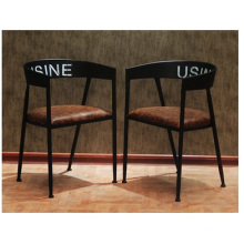 European Wrought Iron Solid Wood Dining Chair, Hotel Soft Mat Chair