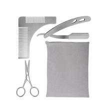 Kit de peine con forma de barba de metal de Amazon con tijeras y maquinilla de afeitar