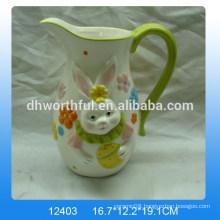 Ceramic milk jug w/easter rabbit design