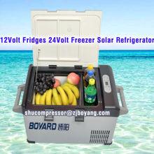 Venta caliente DC 12V Frigorificos congelador Solar refrigerador 42L minibar batería 24v powered mini refrigerador