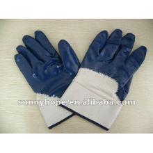 Перчатки с нитриловым покрытием, защитная манжета, открытая спинка