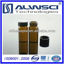20ML Frasco de almacenamiento de vidrio de color ámbar con tapa de PP negro cerrado Frasco de inyector automático de HPLC / GC 27.5x57mm