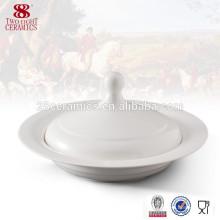 Wholesale vaisselle Porcelaine blanche soupière en céramique avec couvercle