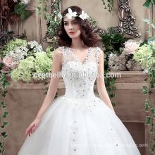 Vestidos de boda blancos bordados hermosos baratos del vestido de bola de Tulle 2016