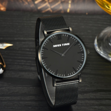 black japan movt stainless steel slim stone quartz watch